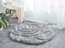 Rugs Home 3D Rose Design Sparkle Living Room Bedroom Floor Mats/Rugs  Nice Grey